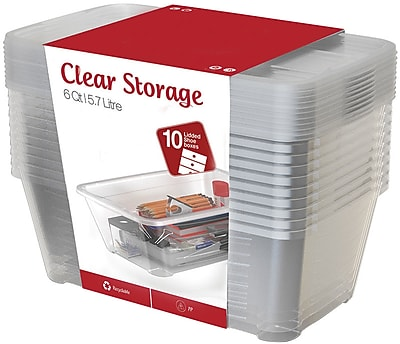 10 Pack- 6 Quart Shoe-Storage Boxes W/Lids