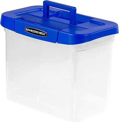 Bankers Box Heavy-Duty Plastic Portable File Storage Boxes with Organizer Lid Compartment, Letter, 1/Ea (0086301)