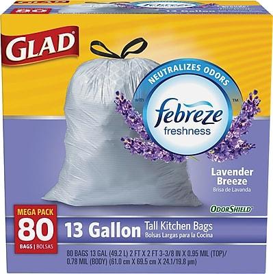 Glad OdorShield Tall Kitchen Drawstring Trash Bags, Lavender, 13 Gallon, 80 Count, 4/Carton