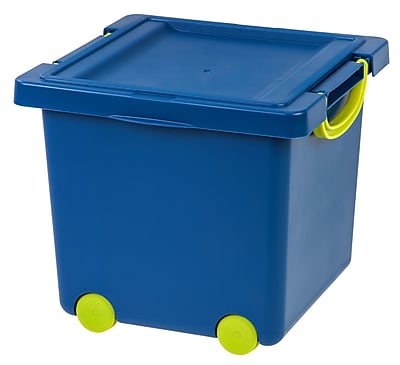 IRIS Toy Storage Box, Blue, 4 Pack (102781)