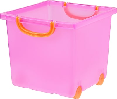 IRIS Toy Storage Box, Pink, 6 Pack (102801)