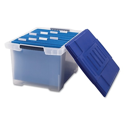 Storex Letter/Legal File Tote Storage Box With Snap-On Lid, Clear/Blue