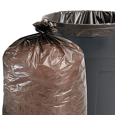 Stout Recycled Plastic Trash Bags Trash Bags, 1 mil Thickness, Brown;Black, 250/Carton (T2424B10)