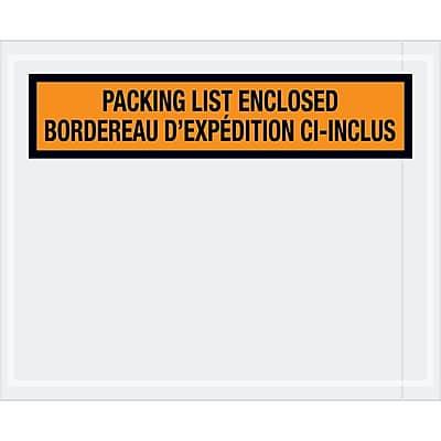"""Tape Logic Bilingual Packing List Envelopes, 4 1/2"""" x 5 1/2"""", Orange, 1000/Case (PL501)"""
