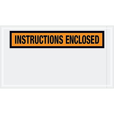 """Tape Logic """"Instructions Enclosed"""" Envelopes, 5 1/2"""" x 10"""", Orange, 1000/Case (PL450)"""