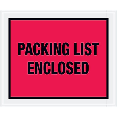 """Tape Logic """"Packing List Enclosed"""" Envelopes, 10"""" x 12"""", Red, 500/Case (PL430)"""