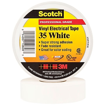 """3M 35 Colored Electrical Tape, 7 Mil, 3/4"""" x 66', White, 10/Case (T96403510PKW)"""