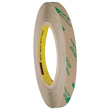 """3M 468MP Adhesive Transfer Tape, Hand Rolls, 5.0 Mil, 1/2"""" x 60 yds., Clear, 6/Case (T9634686PK),Size: med"""