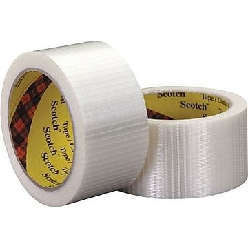 """3M 8959 Bi-Directional Strapping Tape, 5.7 Mil, 2"""" x 55 yds., Clear, 3/Case (T91789593PK)"""