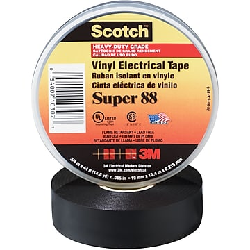 "3M Super 88 Electrical Tape, 8.5 Mil, 3/4"" x 66', Black, 10/Case (T96408810PK)"