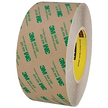 """3M™ 468MP Adhesive Transfer Tape, Hand Rolls, 3"""" x 60 yds., Clear, 1/Case (T9674681PK)"""