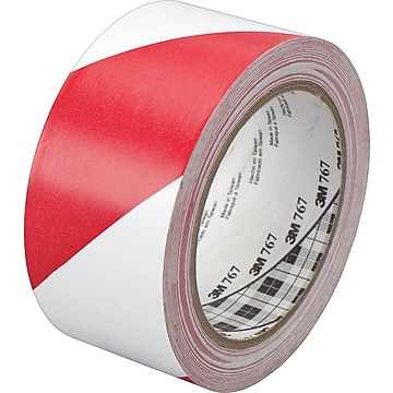 """3M™ #767 Striped Vinyl Safety Tape, Red/White, 3""""x36yds., 12/Pack"""
