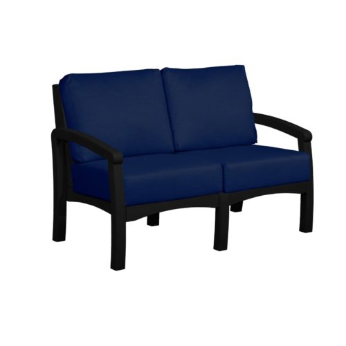 CRP Products Bay Breeze Black Frame Loveseat with Spectrum Indigo Cushion