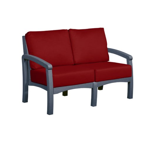 CRP Products Bay Breeze Slate Grey Frame Loveseat with Canvas Jockey Red Cushion