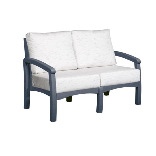 CRP Products Bay Breeze Slate Grey Frame Loveseat with Frequency Parchment Cushion