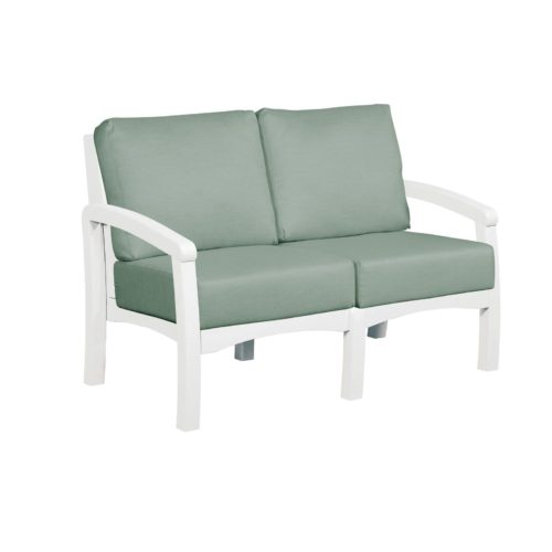 CRP Products Bay Breeze White Frame Loveseat with Canvas Spa Cushion