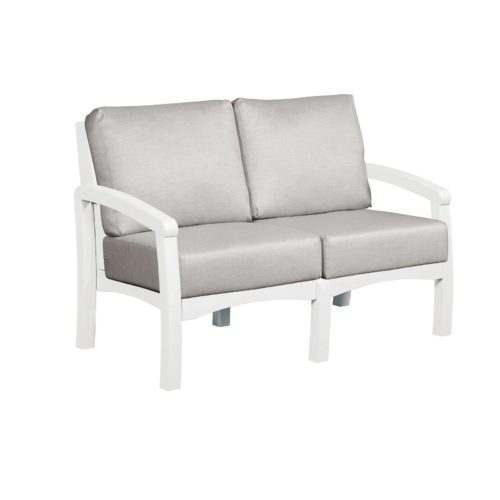CRP Products Bay Breeze White Frame Loveseat with Spotlight Ash Cushion