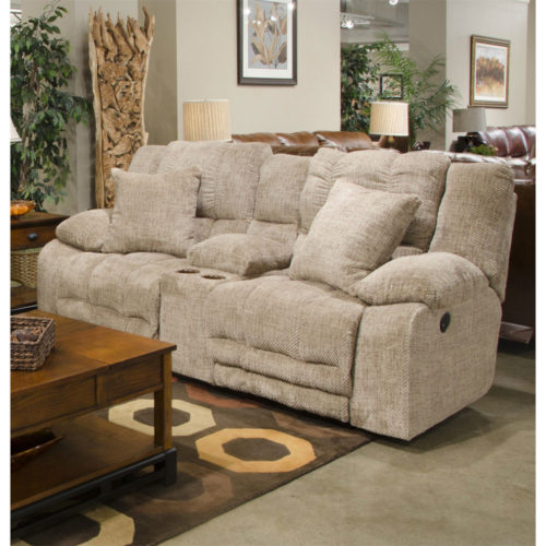 Catnapper Branson Power Lay Flat Reclining Console Loveseat with Extended Ottoman and with Storage and Cupholders