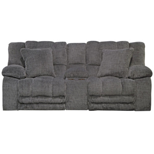 Catnapper Branson Power Lay Flat Reclining Console Loveseat with Extended Ottoman and with Storage and Cupholders in Pewter