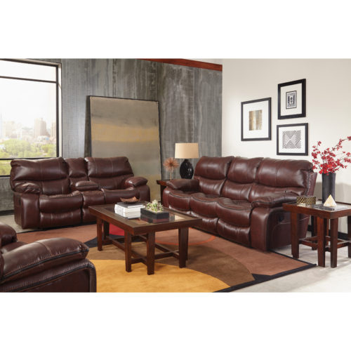 Catnapper Camden Reclining Gliding Console Loveseat in Walnut