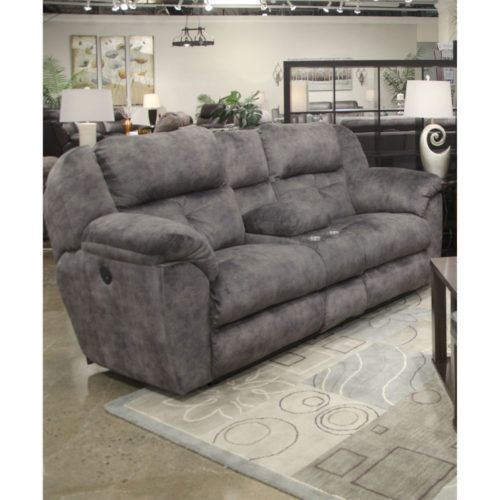 Catnapper Carrington Lay Flat Reclining Console Loveseat with Storage and Cupholders in Greystone