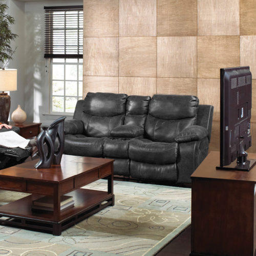 Catnapper Catalina Leather Reclining Console Loveseat in Steel with Power Option