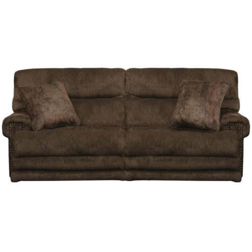 Catnapper Garrison Power Headrest Power Lay Flat Reclining Sofa with Extended Ottoman in Chocolate