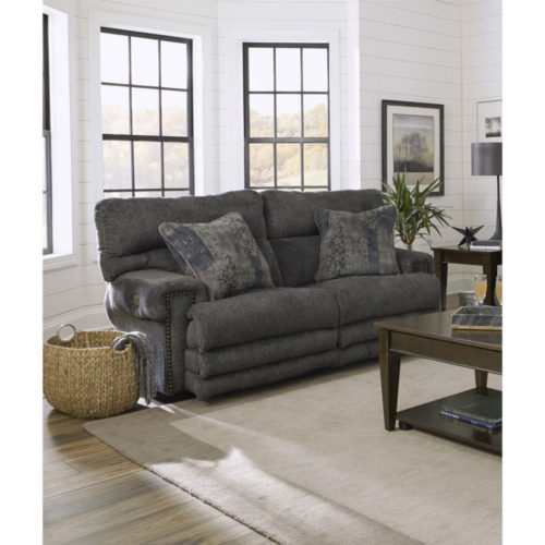 Catnapper Garrison Power Headrest with Lumbar Power Lay Flat Reclining Loveseat with Extended Ottoman in Pewter