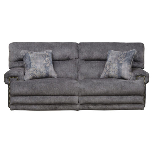 Catnapper Garrison Power Headrest with Lumbar Power Lay Flat Reclining Sofa with Extended Ottoman in Pewter