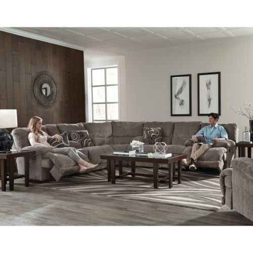 Catnapper Jules Power Reclining Sectional in Pewter