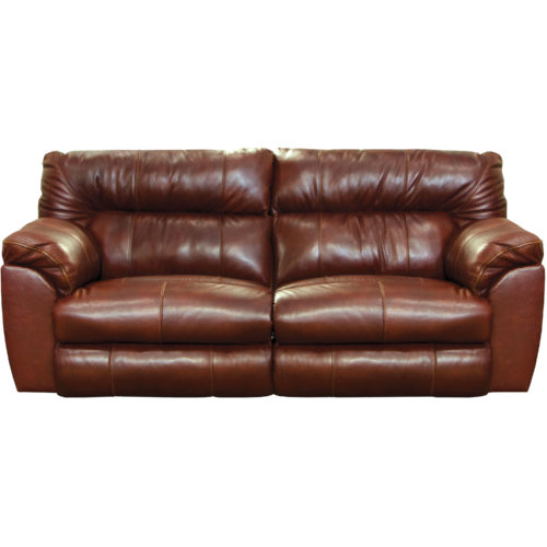 Catnapper Milan Leather Lay Flat Power Reclining Sofa in Walnut