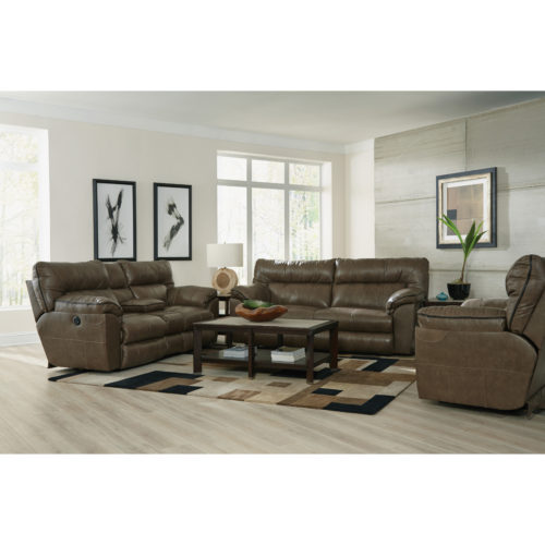 Catnapper Milan Leather Lay Flat Reclining Console Loveseat in Smoke