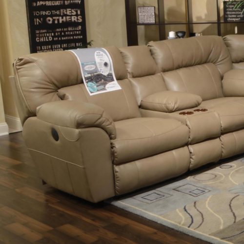 Catnapper Nolan Extra Wide Reclining Console Loveseat in Putty with Storage and Power Option