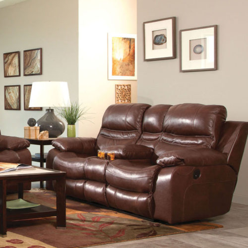 Catnapper Patton Leather Power Lay Flat Reclining Console Loveseat in Walnut