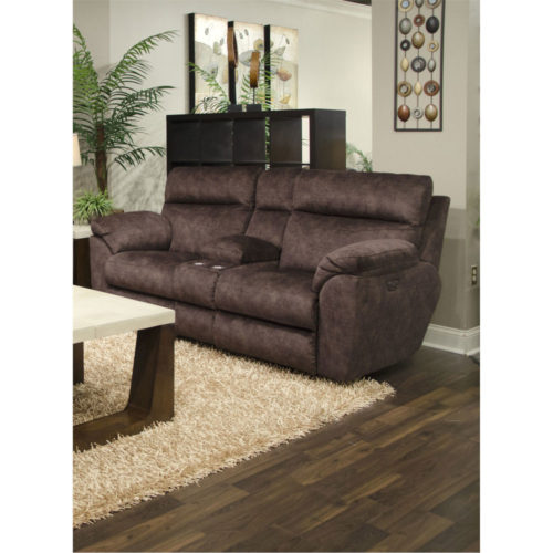 Catnapper Sedona Power Headrest with Lumbar Power Lay Flat Reclining Console Loveseat with Storage and Cupholders in Mocha