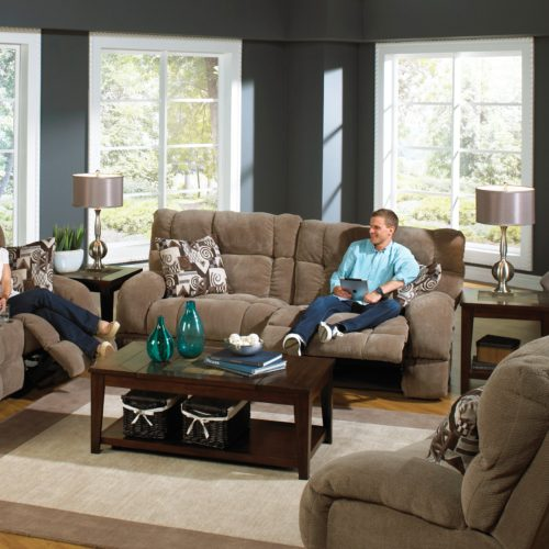 Catnapper Siesta Lay Flat Reclining Sofa in Porcini with Power Option