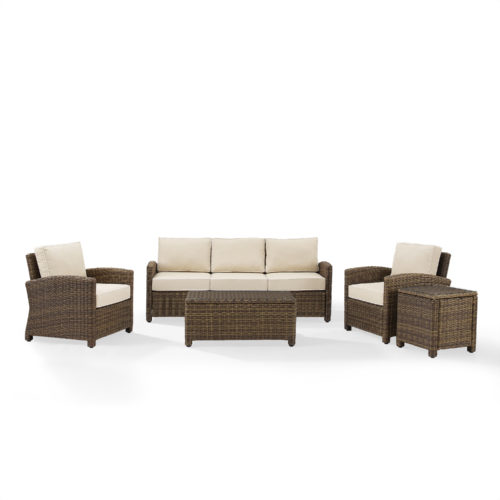 Crosley Bradenton 5 Piece Outdoor Wicker Sofa Conversation Set with Sand Cushion in Weathered Brown