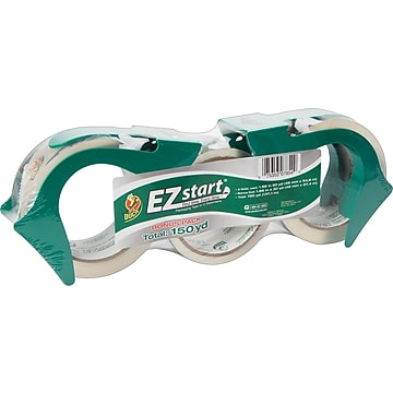 "Duck EZ-Start Crystal-Clear Packing Tape with Dispensers, 1.88""W x 60 Yards, Clear, 3 Rolls (1079097/1150003)"