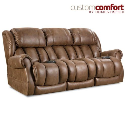 HomeStretch Atlantis Power Sofa with Power Headrest and Power Lumbar Foot Extension in Cognac