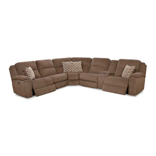 HomeStretch Catalina Power Reclining Right Side Console Loveseat Sectional in Chocolate