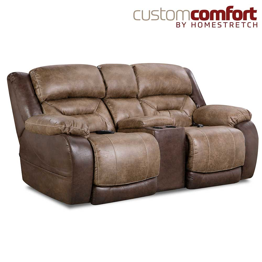 HomeStretch Lone Star Power Loveseat with Power Headrest and Power Lumbar Foot Extension