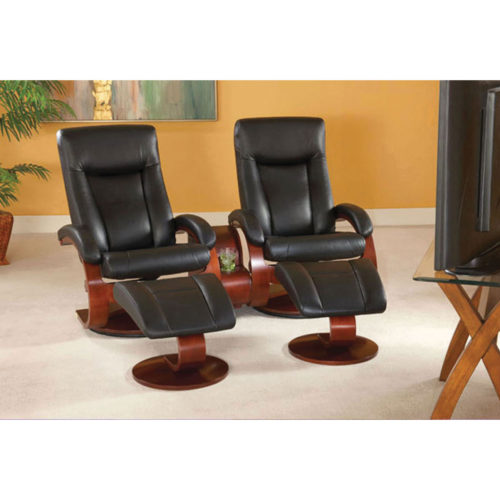 Mac Motion Hamar Double Swivel Recliner with Ottoman and Theater Table in Black Leather