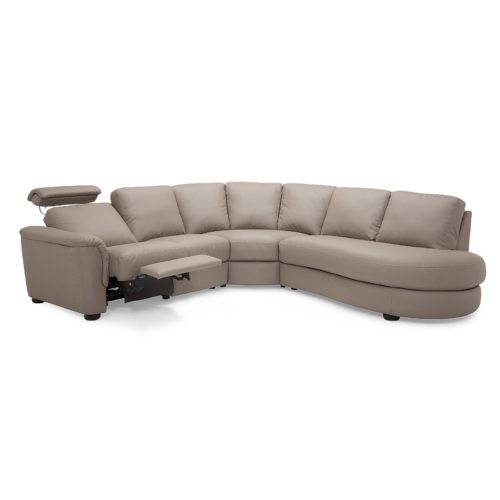Palliser Lyon 5 Seat Sectional with Right Hand Facing Bumper in Dillon Stratus