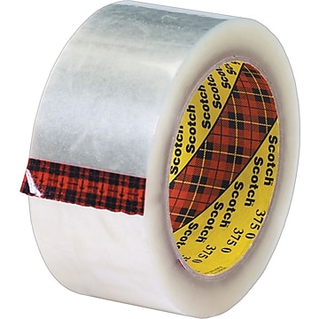 "Scotch #375 Hot Melt Packaging Tape, 2"" x 55 yds., Clear, 36/Case"