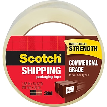 """Scotch Commercial-Grade Shipping Tape, 3""""W Core, Clear, 1.88""""W x 54.6 Yards (3750-CS36ST)"""