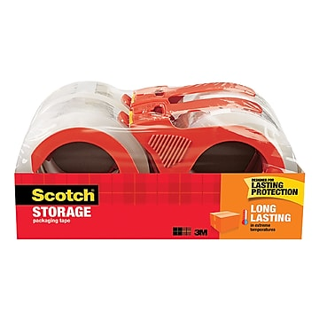 """Scotch Long Lasting Moving & Storage Packing Tape with Dispenser, 1.88""""W x 38.2 Yards, Clear, 4 Rolls (3650S-4RD)"""