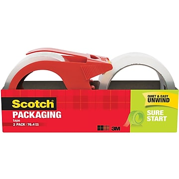 """Scotch Sure Start Shipping Packing Tape, 1.88"""" x 38.2 yds., Clear, 2 Rolls + 1 Dispenser/Pack (3450S-2-1RD)"""