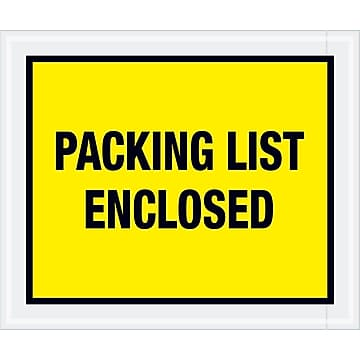 "Tape Logic ""Packing List Enclosed"" Envelopes, 10"" x 12"", Yellow, 500/Case (PL428)"
