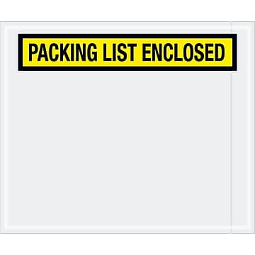 "Tape Logic ""Packing List Enclosed"" Envelopes, 10"" x 12"", Yellow, 500/Case (PL433)"