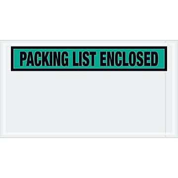 "Tape Logic ""Packing List Enclosed"" Envelopes, 5 1/2"" x 10"", Green, 1000/Case (PL432)"